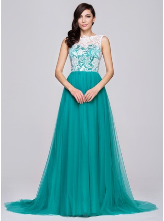 A-Line/Princess Scoop Neck Sweep Train Tulle Lace Prom Dress