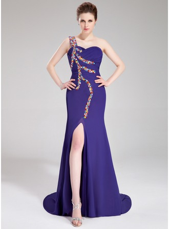 Trumpet/Mermaid One-Shoulder Watteau Train Chiffon Evening Dress With Ruffle Beading Split Front