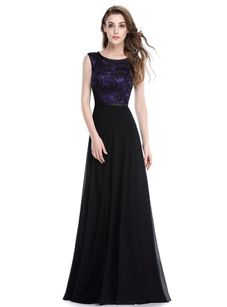 Polyester/Lace/Satin/Silk Blend mit Stitching Maxi Kleid