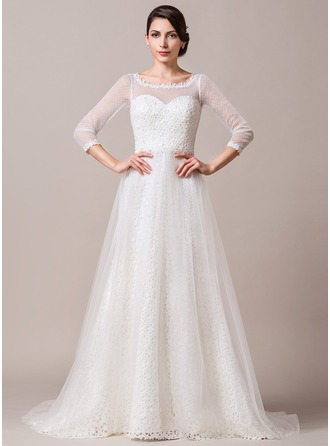A-Line/Princess Scoop Neck Sweep Train Tulle Lace Wedding Dress With Beading