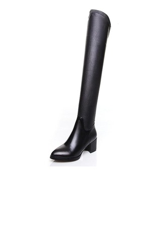 Women's Real Leather Chunky Heel Over The Knee Boots shoes