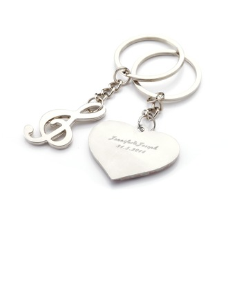 """Personalized """"Musical Notes"""" Stainless Steel Keychains"""