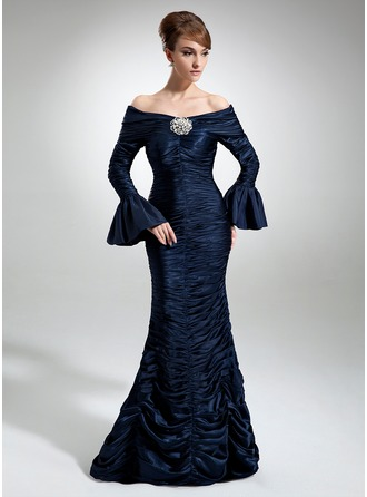 Trumpet/Mermaid Off-the-Shoulder Floor-Length Taffeta Mother of the Bride Dress With Ruffle Crystal Brooch