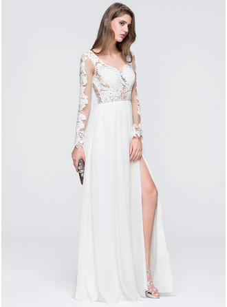 A-Line/Princess Sweetheart Floor-Length Chiffon Prom Dress With Split Front