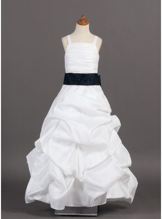 A-Line/Princess Floor-Length Taffeta Flower Girl Dress With Ruffle Sash