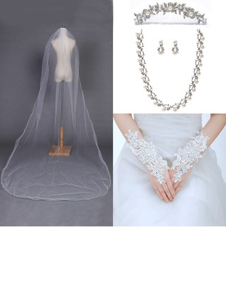 Gorgeous Alloy/Pearl/Rhinestones/Tulle Ladies' Accessory Sets(Including Veil,Headpiece,Necklace,Earring,Glove)