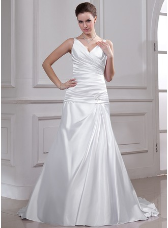 A-Line/Princess V-neck Court Train Charmeuse Wedding Dress With Ruffle Beading