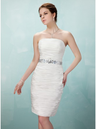 Sheath/Column Strapless Knee-Length Taffeta Cocktail Dress With Ruffle Beading