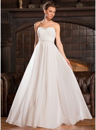 A-Line/Princess Sweetheart Floor-Length Chiffon Evening Dress With Ruffle Beading Sequins