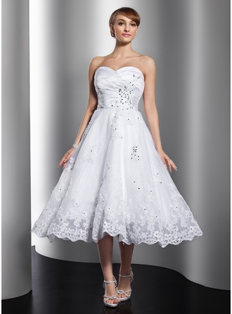 A-Line/Princess Sweetheart Tea-Length Satin Organza Wedding Dress With Ruffle Beading Appliques Lace