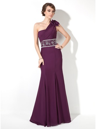 Trumpet/Mermaid One-Shoulder Floor-Length Chiffon Evening Dress With Ruffle Beading Bow(s)