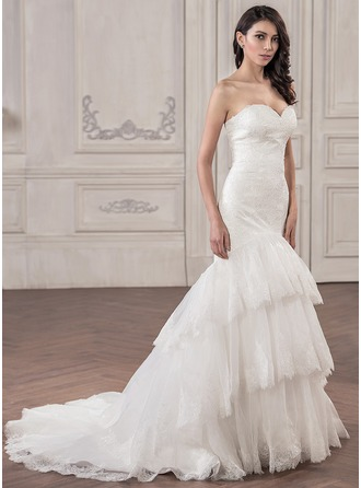 Trumpet/Mermaid Sweetheart Court Train Organza Lace Wedding Dress