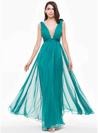 A-Line/Princess V-neck Floor-Length Chiffon Tulle Charmeuse Evening Dress With Ruffle Lace