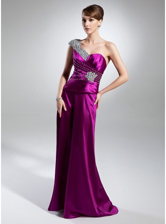 A-Line/Princess One-Shoulder Floor-Length Charmeuse Mother of the Bride Dress With Ruffle Beading
