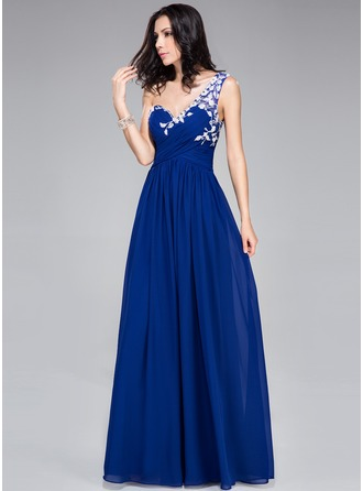 A-Line/Princess One-Shoulder Floor-Length Chiffon Tulle Prom Dress With Ruffle Appliques Lace Flower(s)