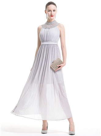 A-Line/Princess High Neck Ankle-Length Chiffon Holiday Dress With Beading Sequins Pleated