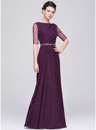 A-Line/Princess Scoop Neck Floor-Length Chiffon Tulle Mother of the Bride Dress With Ruffle Beading Sequins
