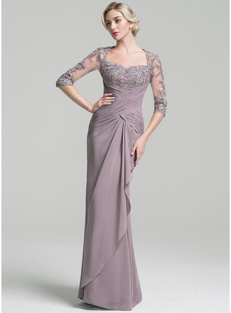 Trumpet/Mermaid Sweetheart Floor-Length Chiffon Evening Dress With Ruffle Cascading Ruffles