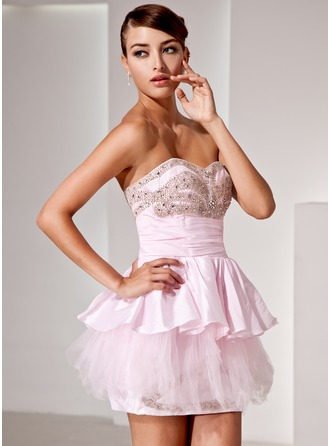 A-Line/Princess Sweetheart Short/Mini Taffeta Cocktail Dress With Beading Cascading Ruffles