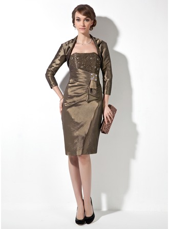Sheath/Column Sweetheart Knee-Length Taffeta Mother of the Bride Dress With Beading Cascading Ruffles