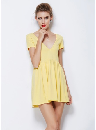 Polyester/Cotton With Mini Dress