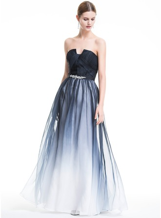 A-Line/Princess Scalloped Neck Floor-Length Chiffon Holiday Dress With Ruffle Beading
