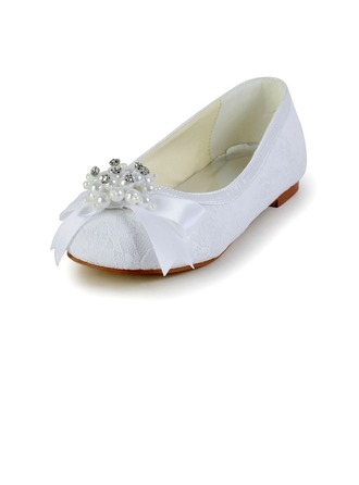 Kids' Lace Satin Flat Heel Closed Toe Flats With Bowknot Imitation Pearl