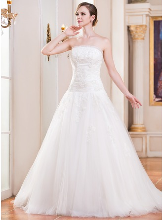 Ball-Gown Strapless Cathedral Train Tulle Wedding Dress With Ruffle Lace Beading Sequins