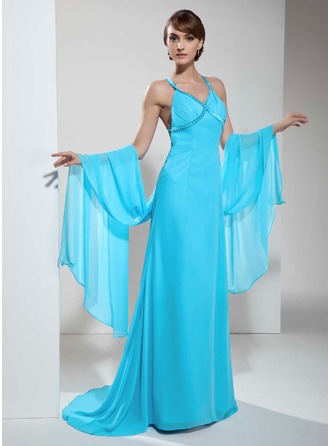 A-Line/Princess V-neck Watteau Train Chiffon Holiday Dress With Ruffle Beading