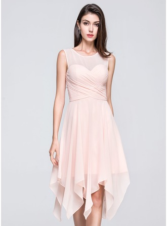 A-Line/Princess Scoop Neck Asymmetrical Chiffon Cocktail Dress With Ruffle