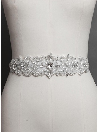 Women Satin With Rhinestones Imitation Pearls Sashes
