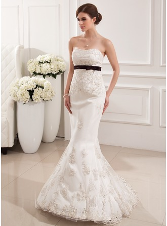 Trumpet/Mermaid Sweetheart Sweep Train Tulle Wedding Dress With Sash Beading Appliques Lace Bow(s)