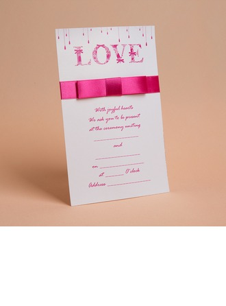 Classic Style Flat Card Invitation Cards With Bows/Ribbons