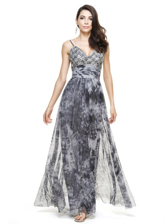 A-Line/Princess Sweetheart Floor-Length Tulle Lace Holiday Dress With Ruffle