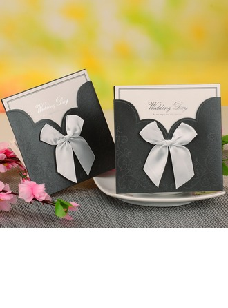 Bride & Groom Style Wrap & Pocket Invitation Cards With Bows