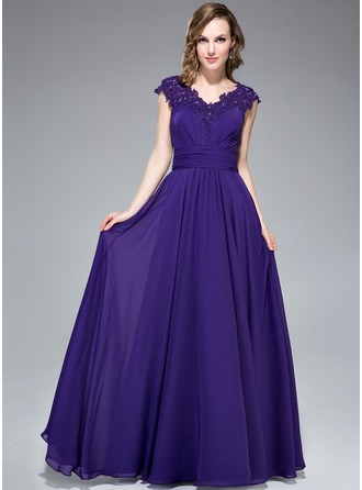 A-Line/Princess V-neck Floor-Length Chiffon Evening Dress With Ruffle Beading Appliques Lace Sequins