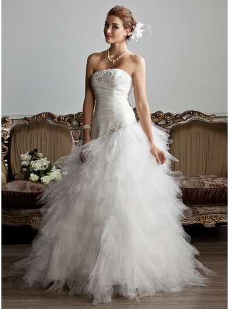 A-Line/Princess Strapless Floor-Length Satin Tulle Wedding Dress With Ruffle Beading Appliques Lace