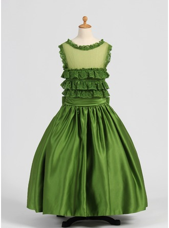Ball-Gown Satin/Tulle Girl Dress With Lace/Bows/Cascading Ruffles