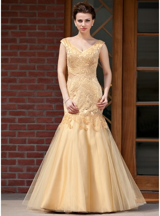 Trumpet/Mermaid V-neck Floor-Length Satin Tulle Mother of the Bride Dress With Embroidered Beading