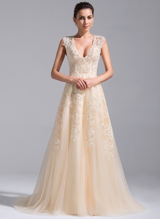 A-Line/Princess V-neck Court Train Tulle Wedding Dress With Beading Appliques Lace Sequins