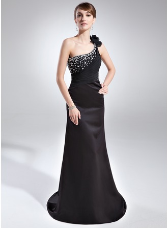 Sheath/Column One-Shoulder Court Train Satin Evening Dress With Ruffle Beading