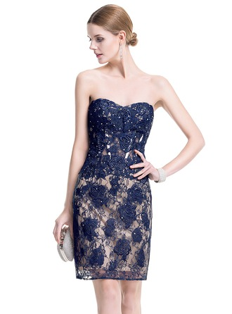 Sheath/Column Sweetheart Short/Mini Lace Cocktail Dress With Beading