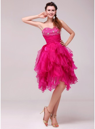 A-Line/Princess Sweetheart Knee-Length Organza Cocktail Dress With Beading Sequins Cascading Ruffles Pleated