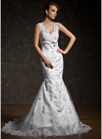 Trumpet/Mermaid V-neck Court Train Satin Tulle Wedding Dress With Lace Beading Bow(s)