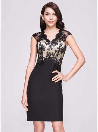 Sheath/Column V-neck Knee-Length Chiffon Lace Cocktail Dress