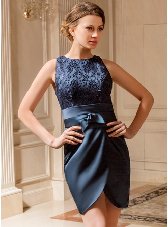 Sheath/Column Scoop Neck Short/Mini Satin Lace Mother of the Bride Dress With Ruffle