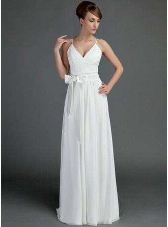 A-Line/Princess V-neck Floor-Length Chiffon Charmeuse Wedding Dress With Ruffle Sash Bow(s)