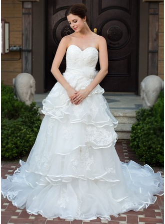 A-Line/Princess Sweetheart Chapel Train Satin Organza Wedding Dress With Lace Beading Flower(s) Bow(s) Cascading Ruffles