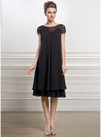 Empire Scoop Neck Knee-Length Chiffon Lace Mother of the Bride Dress With Beading Sequins