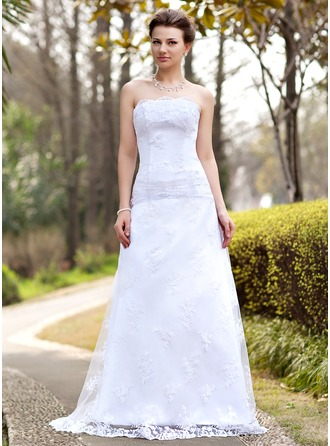 A-Line/Princess Strapless Sweep Train Satin Lace Wedding Dress With Ruffle